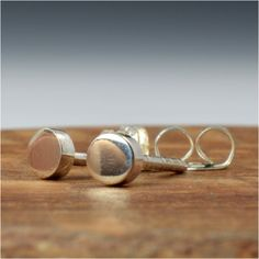 Geometric Circle Studs in Sterling Silver by manicmetals on Etsy, $11.95