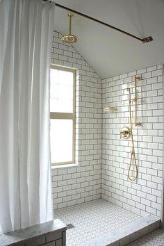white subway tile, white vintage hex tile, dark grout, brass fixtures #bathroom #bath