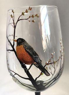 Spring Robin Hand Painted Bird Wine Glass by LKCustomCreations