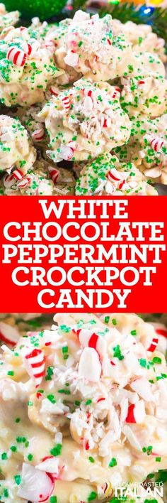 White Chocolate Peppermint Crockpot Candy is creamy, crunchy and very festive. Loaded with cashews, peanuts, almonds and refreshing peppermint candy. by kaitlin Christmas Deserts, Holiday Desserts, Holiday Baking, Holiday Treats, Holiday Recipes, Christmas Recipes, Christmas Candy, Christmas Goodies, Christmas Ideas