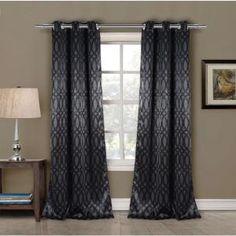 Blackout Tayla 84 in. L Blackout Grommet Panel in Black (2-Pack) Blackout Panels, Blackout Curtains, Grommet Curtains, Drapes Curtains, Drapery, Curtain Sets, Curtain Panels, Curtain Call, Window Panels