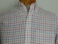 Brooks Brothers Men's Linen Shirt Sz L White w Beige Black Red Blue Window Pane #BrooksBrothers