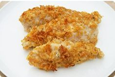 My family LOVES this recipe!  We've made it probably 6 times since I found it.  My boys always ask for more.  It's a keeper!!  RANCH CHICKEN Combine: 3/4 cup crushed cornflakes. 3/4 cup parmesan cheese. 1 packet of hidden valley ranch dressing mix.     Dip 8 chicken halves in melted butter and then roll in cornflake mix. Place in greased 9x13 pan. Bake @ 350 for 45 min. Best. Chicken. Ever!