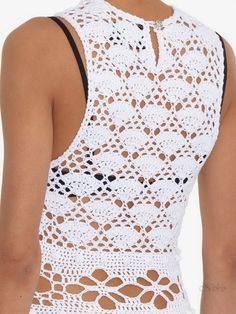 Crochetemoda: Vestido Branco de Crochet Free Crochet, Knit Crochet, Fillet Crochet, Moda Boho, Crochet Shirt, Crochet Clothes, Crochet Dresses, Crochet Projects, Knitwear