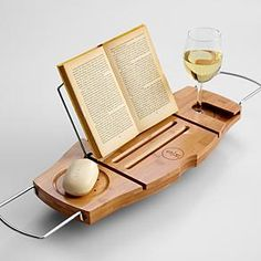 I think I need this... a bath cady to hold your wine... so amazing
