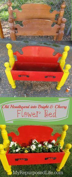 cama doble reutilizados en una maceta alegre para el jardín