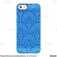 Blue,art deco,nouveau,fan pattern,chic,elegant,fun uncommon permafrost® deflector iPhone 5 case