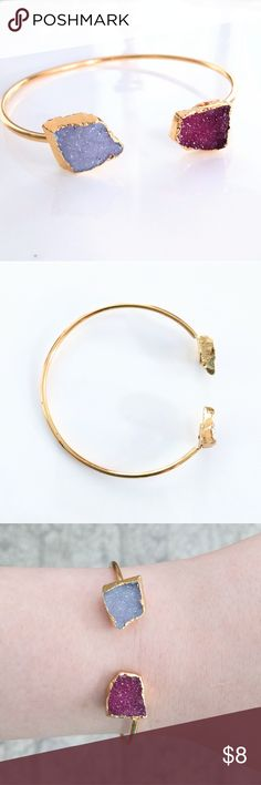 Gold-plated genuine druzy cuff bangle bracelet CLOSET CLOSING CLEARANCE!  All prices are firm; no additional offers accepted.  I'm earning no profits, just liquidating everything before moving abroad.  I'm listing as many items as I can as quickly as I'm able, but things are selling fast, so grab your faves while you can!    Nickel and lead free.  Can bend easily to fit most wrists.  Gold plating is very, very slightly uneven at back; not at all noticeable when worn and doesn't affect wear…