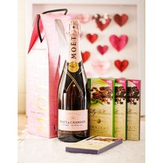 A bottle of Moët et Chandon Impérial Rosé Champagne with Lindt & Ferrero chocolate truffles in a gift box, available for delivery throughout South Africa. Ferrero Chocolate, Chocolate Truffles, Valentine Day Love, Valentines, Chocolate Hampers, Gift Hampers, Gift Baskets, Rose Champagne, Sweets