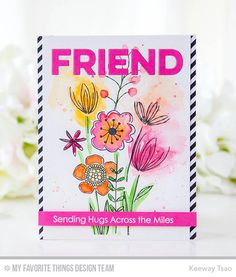 Handmade card from Keeway Tsao featuring Sketched Blooms 2 stamp set #mftstamps