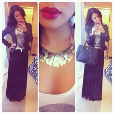 maxi skirt outfits | Fashion » OUTFIT: Maxi Skirt, Skulls, and Leather Jacket.