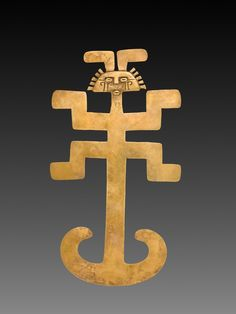 """Art of the Day: """"Figural Pendant,"""" 1-800. Isthmian Region (Colombia), Tolima, 1st-8th century. Gold, cast and hammered. Severance and Greta Millikin Purchase Fund."""