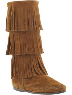 Minnetonka Moccasin Suede 3-Layer Fringe boots