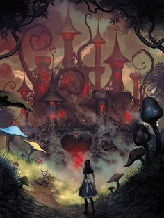I chose this picture because I really like the way it has been illustrated. With the large red and evil castle almost towering over Alice, looking intimidating. Also the dark tones let the vibrant colours such as red and blue stand out.