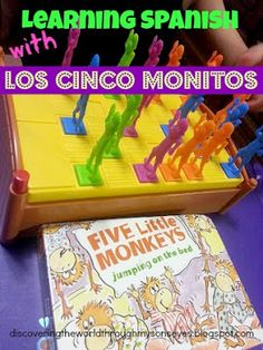 Discovering The World Through My Son's Eyes: Spanish Home Lessons: Five Little Monkeys (Cinco Monitos) Preschool Spanish, Elementary Spanish, Preschool Songs, Spanish Classroom, Teaching Spanish, Preschool Age, Learning Letters, Learning Activities, Kids Learning