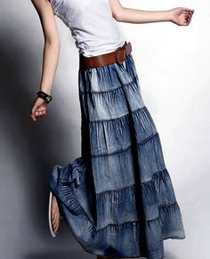 Denim maxi skirt from old jeans