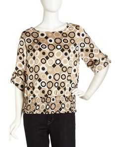 D-Ring Sleeve Print Top, Chino Combo by MICHAEL Michael Kors at Last Call by Neiman Marcus.