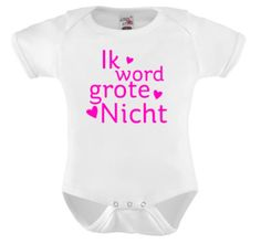 Ik word grote nicht, Romper bedrukken, t-shirt bedrukken, naam drukken, bedrukte kinderkleding, baby kleding, bedruk een shirt, ik word grote neef, neefje, nichtje