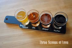 chalkboard beer flight paddles. As beer tasting has been one of our favorite activities throughout our relationship, I am making one of these for my husband for our anniversary.  I am decoupaging photos of us to the back.
