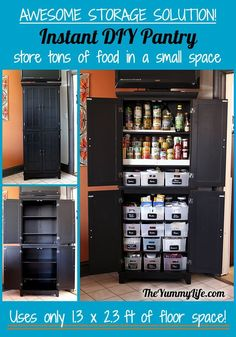 Instant DIY Pantry Cabinet. An easy kitchen storage solution. TheYummyLife.com