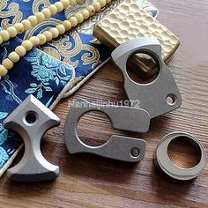 Handmade TC4 Solid Titanium Tactical EDC Outdoor Survival Key Chain Ring Tools
