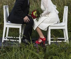 Minna wedding dress and Miss L Fire wedding shoes.