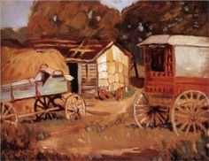Carriage Business 1918 by Grant Wood Paul Revere, Wood Artwork, Vintage Artwork, Grant Wood Paintings, Oil Paintings, Iowa, Wholesale Picture Frames, Art Grants, American Gothic