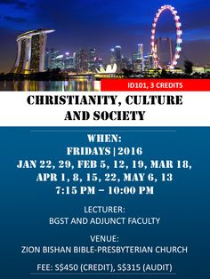 Christianity, Culture and Society (starting on Jan 22, 2016) ID101