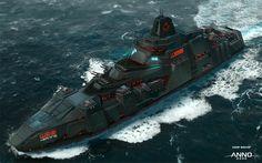 ANNO 2205 - Enemy Warship, Sören Meding on ArtStation at https://www.artstation.com/artwork/YJe93