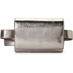 French Connection Charlotte Metallic Belt Bag (160 BRL) ❤ liked on Polyvore featuring bags, metallic, leather bags, coin purses, waist fanny pack, leather coin pouch and waist bag