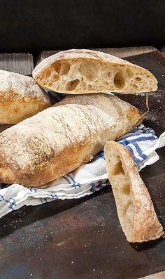 Sourdough Ciabatta made the traditional way with a biga or starter.