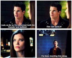 "TTP - 1x19 Modus Vivendi [gifset] - ""I've been teaching him slang."" - Stephen, Russell, Cara, Tim, The Tomorrow People"