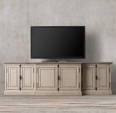 French Panel Closed Media Console ; distressed taupe finish