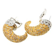 Carrera y Carrera Diamond White and Yellow Gold Ava Earrings   From a unique collection of vintage more earrings at https://www.1stdibs.com/jewelry/earrings/more-earrings/