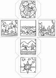 de schepping -kubus met de 6 scheppingsdagen