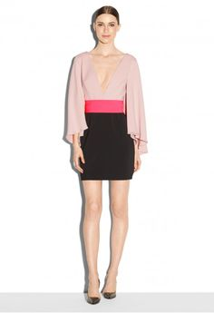 EXCLUSIVE ITALIAN CADY BELL SLEEVE MINI DRESS   MILLY