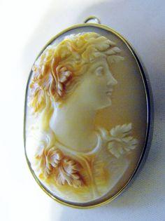 Master Carved Bacchus God of Wine Cameo 18K Gold