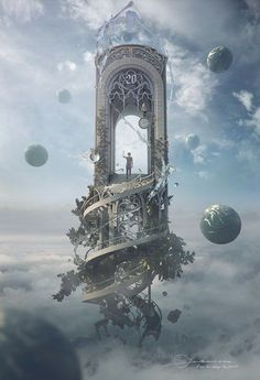 "Fantasy Artwork: ""Knocking On Heaven's Door"" by Jie Ma Fantasy Artwork, Fantasy Art, Amazing Art, Animation Art, Fantasy Landscape, Surrealism, Pictures, Surreal Scenes, Scenery"