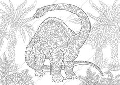 Brontosaurus Dinosaur Brachiosaurus Diplodocus Dino Coloring Pages Animal Book For Adults Instant Download Print