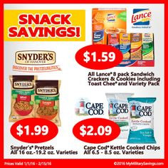 Snack Savings!  Save on Snyder's Pretzels, Lance Sandwich Crackers & Cookies and Cape Cod Kettle Cooked Chips.