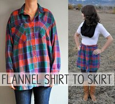 How to turn a flannel shirt into a cosy skirt Flannel Shirt to Skirt–Repurposed Clothing Diy Clothes Refashion, Shirt Refashion, Diy Clothing, Sewing Clothes, Sewing Men, Men Clothes, Flannel Skirt, Shirt Skirt, Umgestaltete Shirts