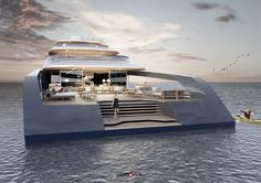 Pastrovich Studio's X-Prime yacht concept - Inspired by tropical homes, Pastrovich's latest design blurs boundaries to make the living easy Yacht Design, Boat Design, Power Boats, Speed Boats, Utility Boat, Sports Nautiques, Cabin Cruiser, Private Yacht, Love Boat