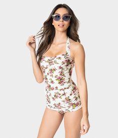 40d4a66e7d11 Esther Williams Vintage Style Romance Floral Classic Sheath Swimsuit –  Unique Vintage