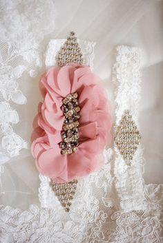 garter, ruffles, pink and green wedding, southern wedding, wedding details