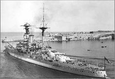 HMS Royal Oak leaving Valetta c 1937