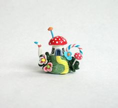 Miniature Whimsical Fairy Toadstool House on Hill Teapot OOAK by C. Rohal via Etsy