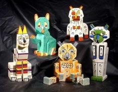 "Louis Wain's rare ceramic cat creations. He dubbed them ""Futurist Cats"". Cubist before the time of Cubism."