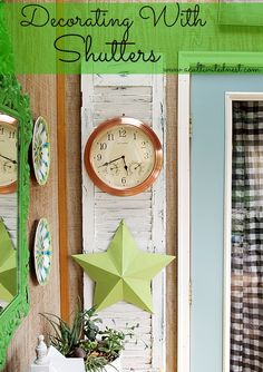 Decorating with Shutters - we've got shutters and bi-fold doors @ Curiosity Shop that would be great for these projects. www.curiosityshoptx.com