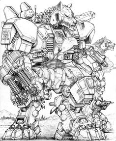 RIFTS NG-V61 GUNWOLF Robot by ChuckWalton.deviantart.com on @deviantART