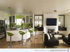 apple green kitchen with apple green bar stools /almazöld konyha almazöld székekkel